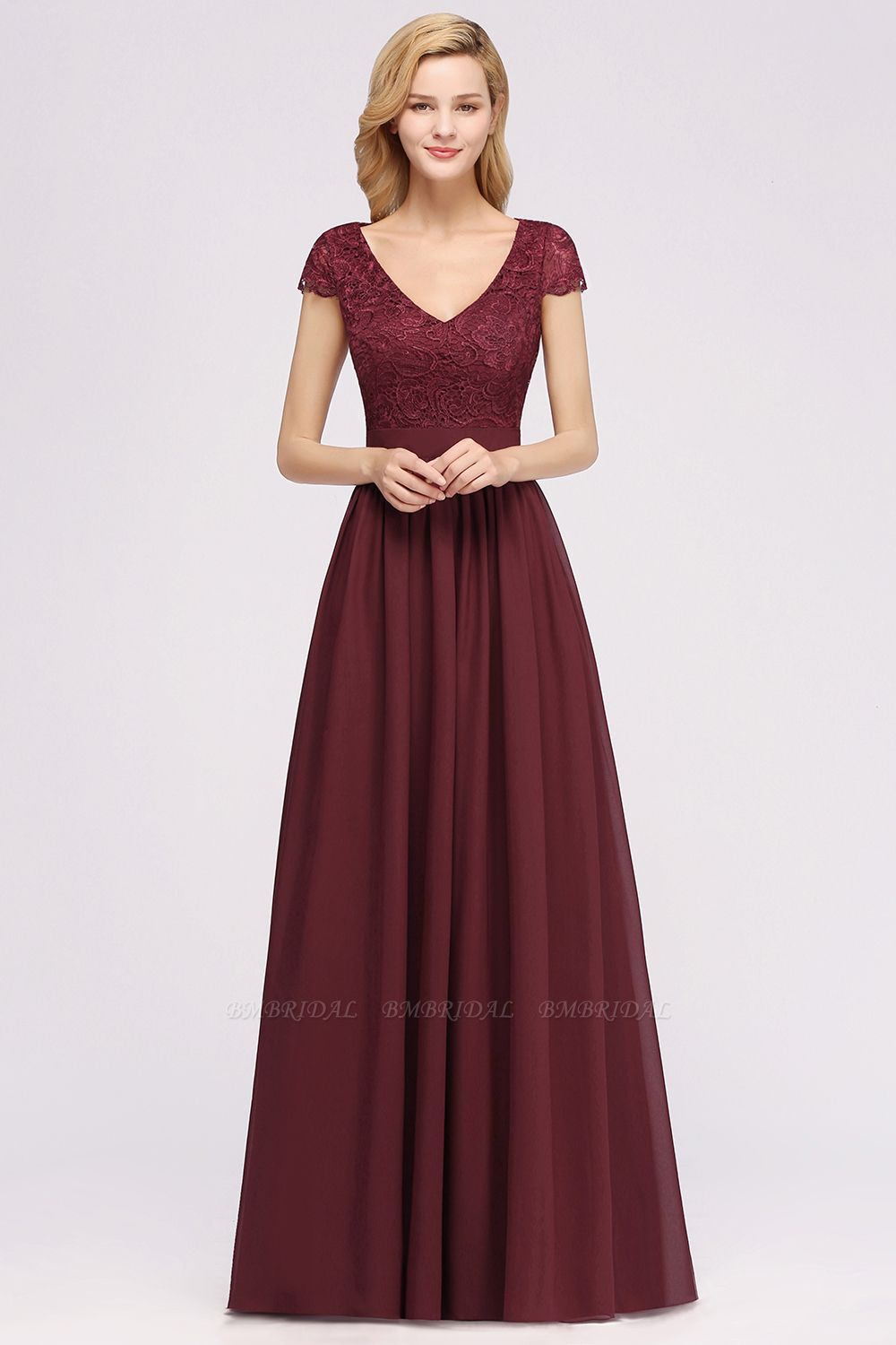 Elegant Lace Open-Back Long Burgundy Bridesmaid Dresses Online