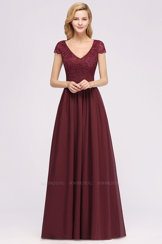 BMbridal Elegant Lace Open-Back Long Burgundy Bridesmaid Dresses Online