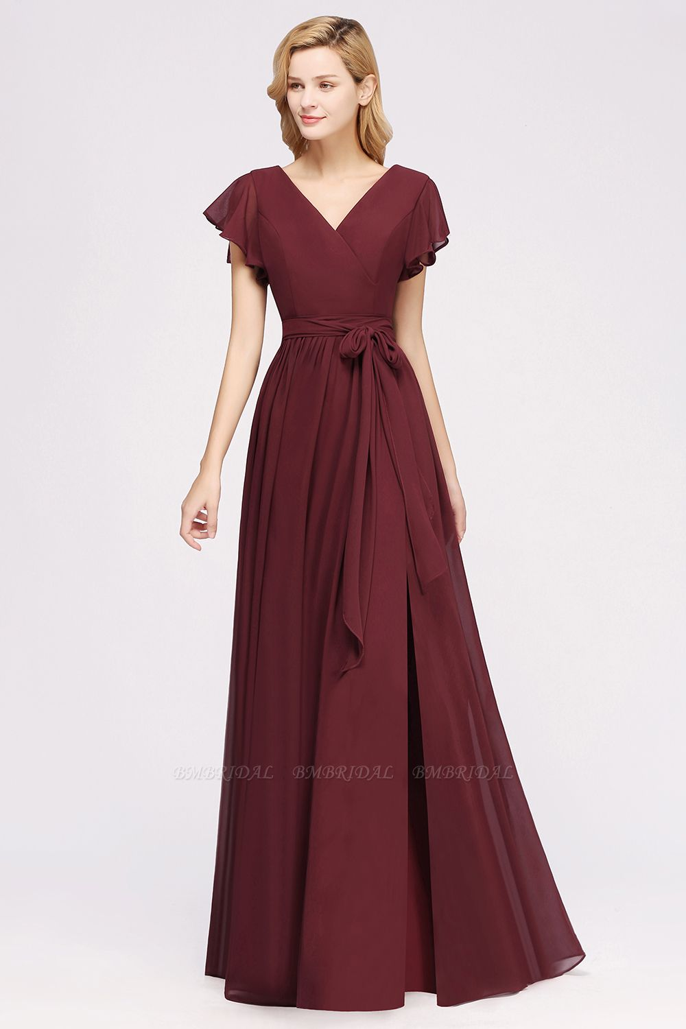 Burgundy V-Neck Long Bridesmaid Dress With Short-Sleeves