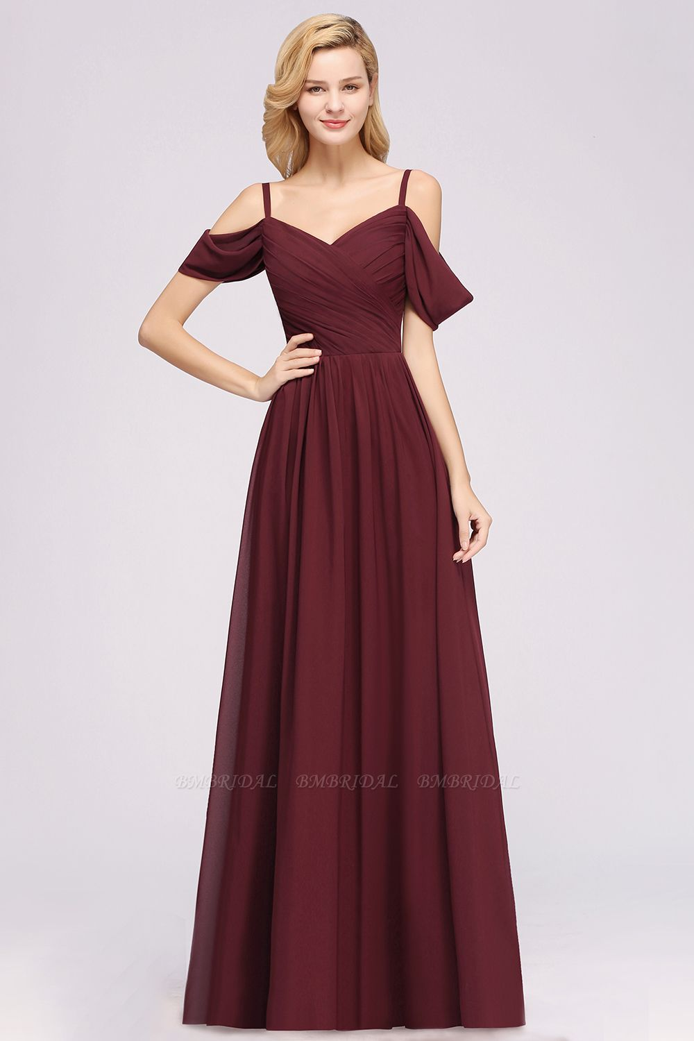 Chic Off-the-shoulder Burgundy Bridesmaid Dress with Spaghetti Straps