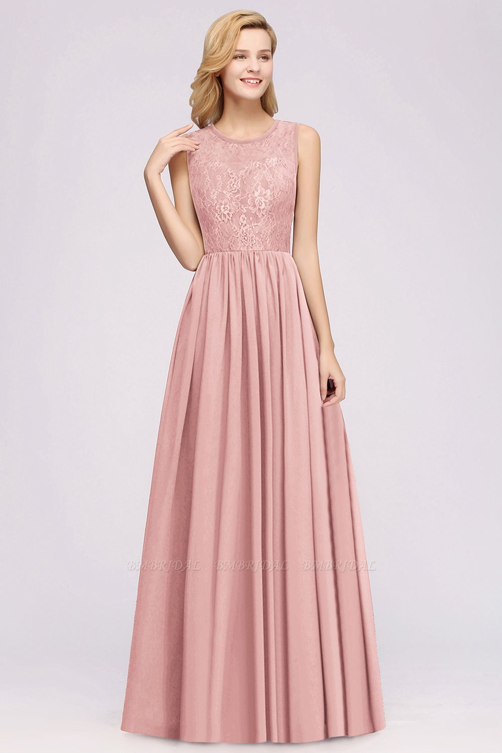 Affordable Sleeveless Lace Pink Bridesmaid Dress With Hollowout Back