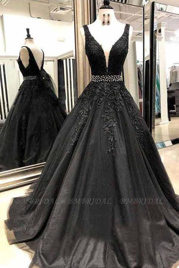 Black V-Neck Lace Prom Dress Long Sleeveless Evening Gowns With Beads