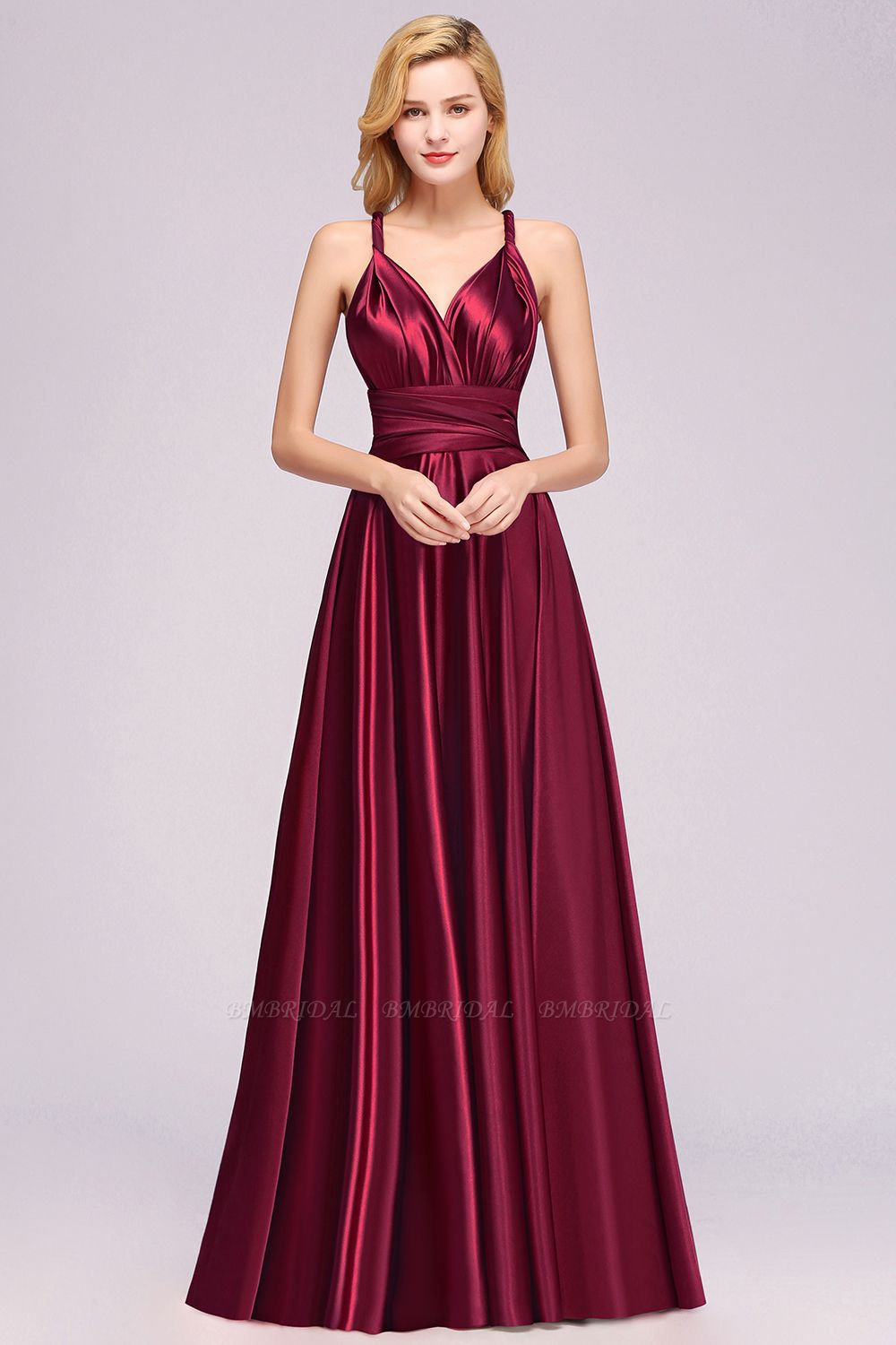 BMbridal Chic Burgundy Satin Long Bridesmaid Dresses With One Shoulder