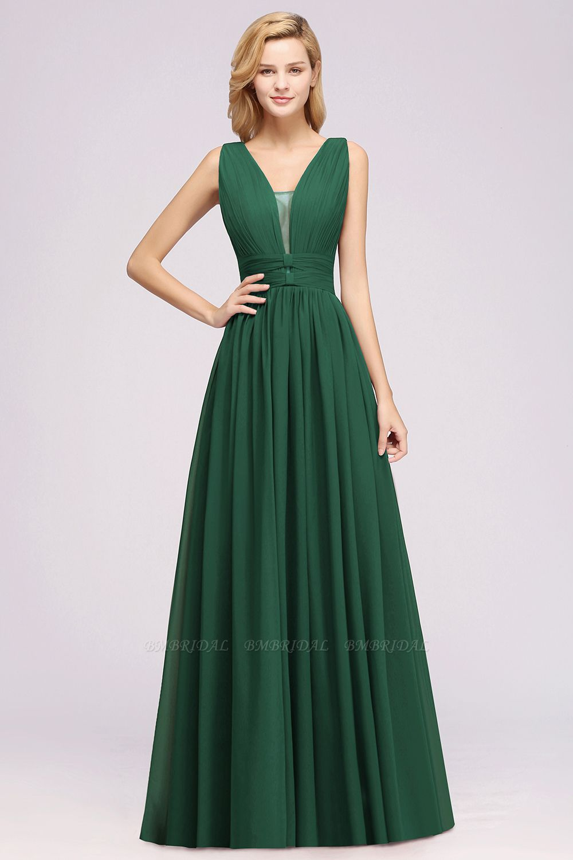 Modest Dark Green Long Bridesmaid Dress Deep V-Neck Chiffon Maid of Honor Dress