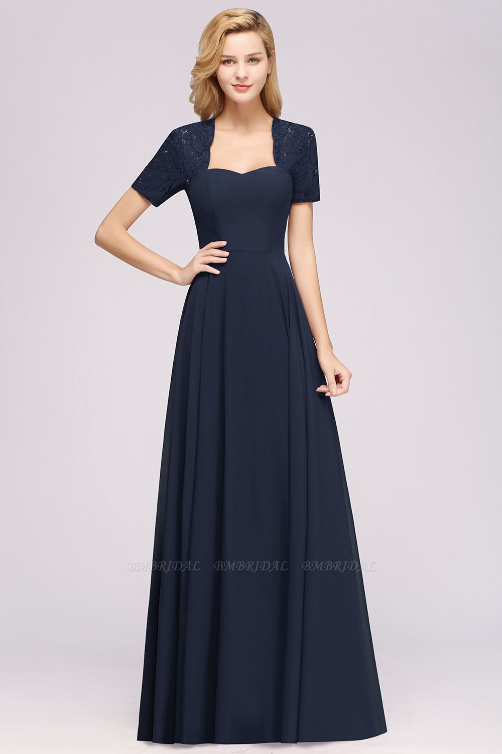 BMbridal Dark Navy Open-Back Long Bridesmaid Dress With Short Sleeves