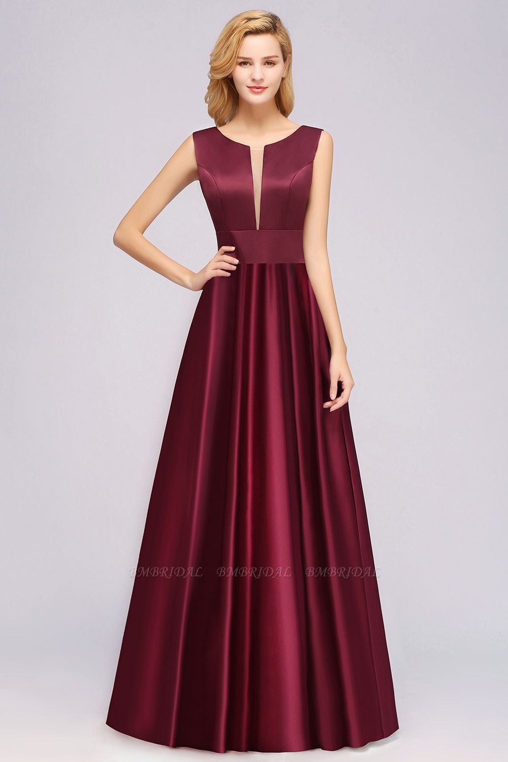 Vintage Deep-V-Neck Long Burgundy Bridesmaid Dress Online