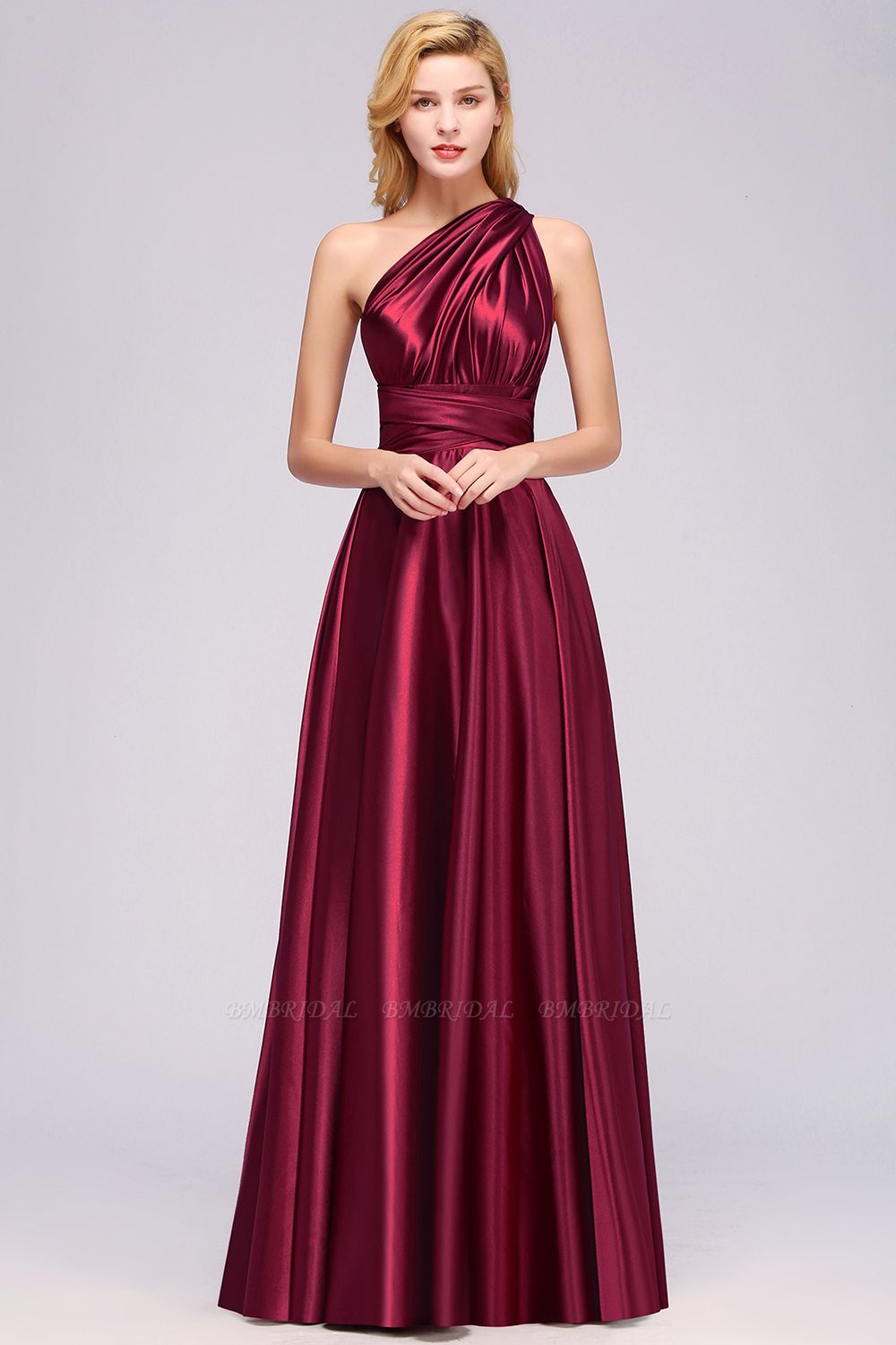 Chic Burgundy Chiffon Long Bridesmaid Dresses With One Shoulder
