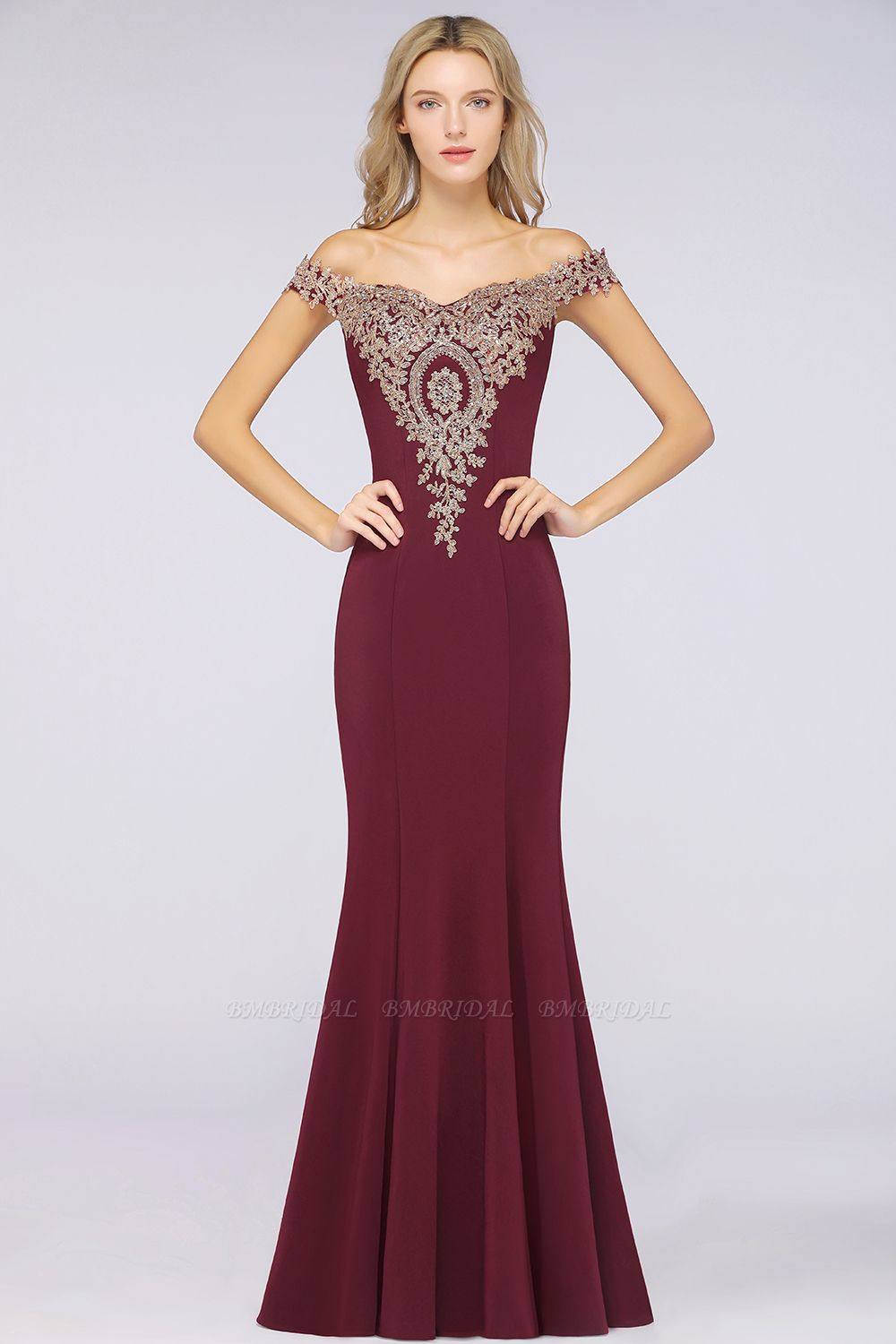 BMbridal Elegant Off-the-Shoulder Mermaid Prom Dress Long With Lace Appliques