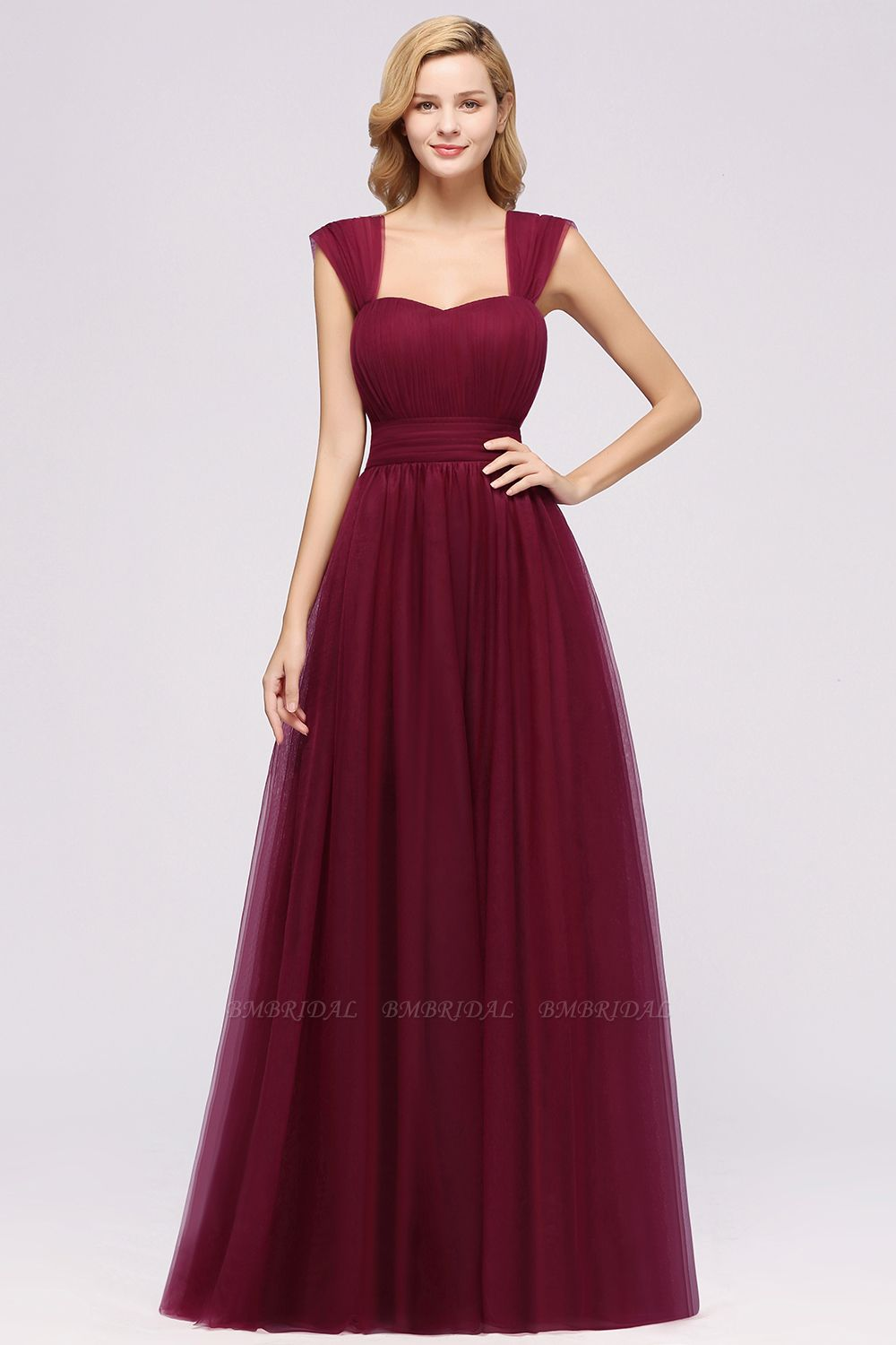 Gorgeous Sweetheart Straps Ruffle Burgundy Bridesmaid Dresses Online