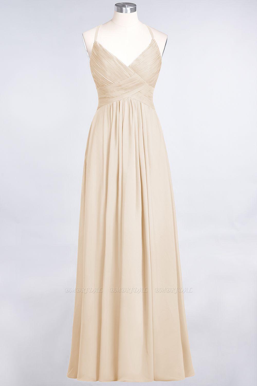 Affordable Chiffon Ruffle V-Neck Bridesmaid Dress with Spaghetti Straps
