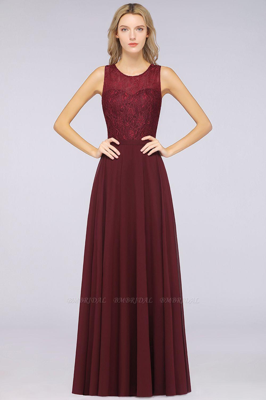 BMbridal Elegant Roud Neckline Sleeveless Burgundy Lace Bridesmaid Dress Online