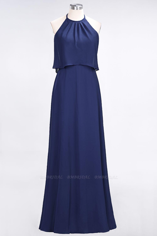 BMbridal Gorgeous Chiffon Flounced Crinkle Sheath Long Burgundy Bridesmaid Dresses