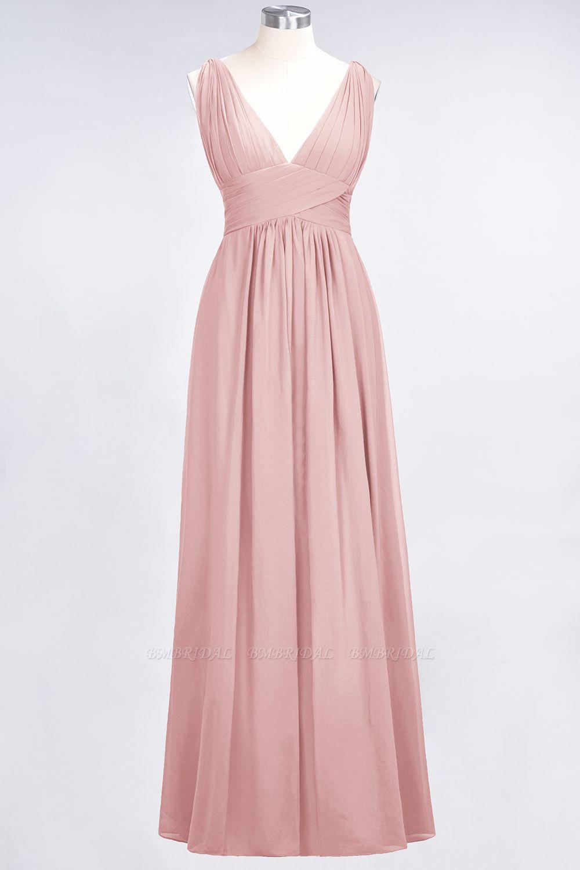 Elegant V-Neck Burgundy Chiffon Cheap Bridesmaid Dress with Ruffle