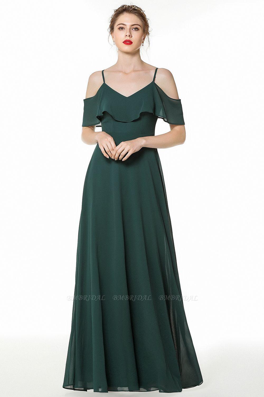 BMbridal Elegant Cold-shoulder Flounced Crinkle Backless Bridesmaid Dresses Affordable