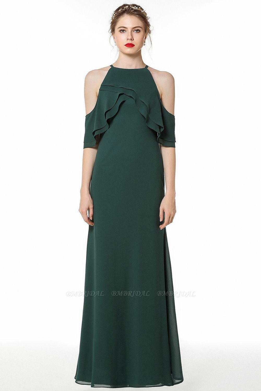 BMbridal Affordable Cold-shoulder Ruffle Dark Green Bridesmaid Dresses Online