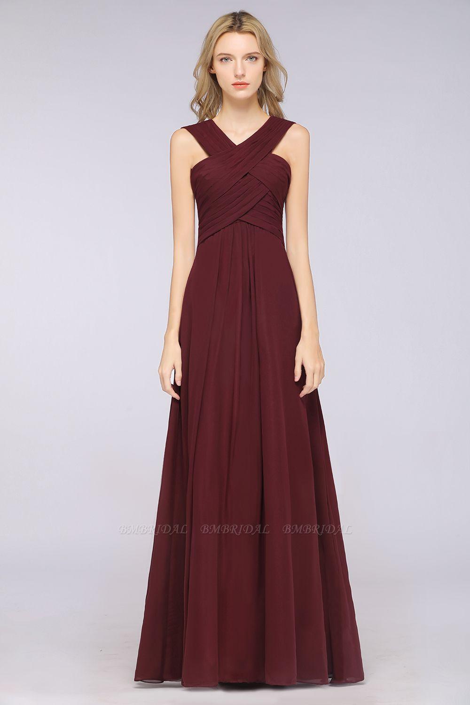 Elegant Chiffon V-Neck Straps Crisscross Burgundy Bridesmaid Dress with Ruffle
