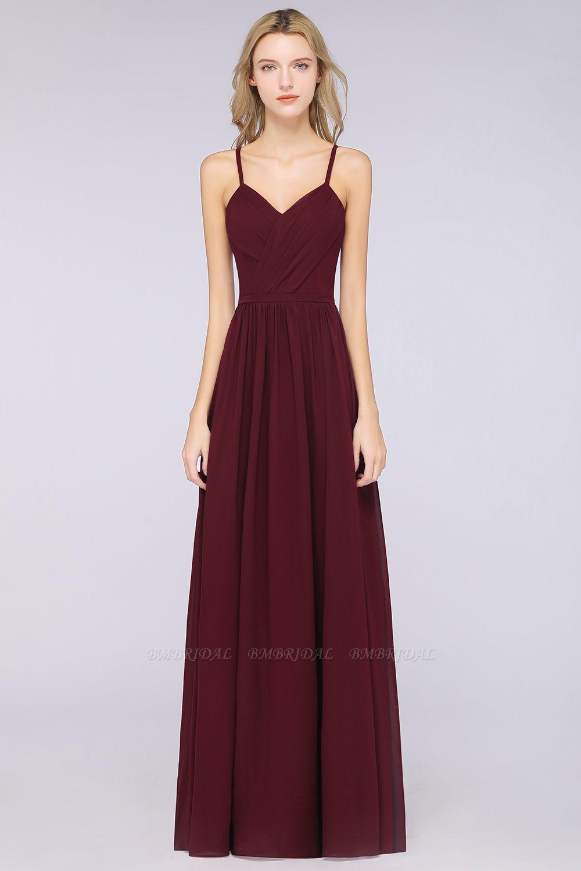 BMbridal Elegant Chiffon V-Neck Burgundy Bridesmaid Dresses With Spaghetti-Straps