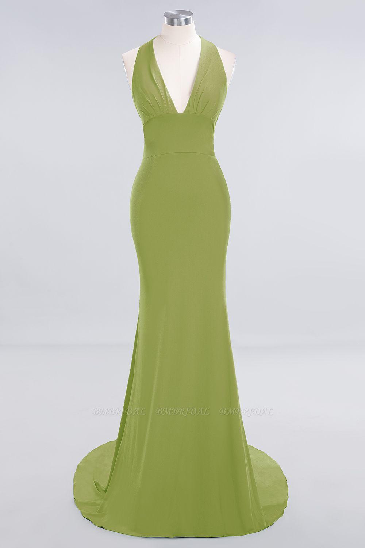 Mermaid Halter V-Neck Dark Green Chiffon Bridesmaid Dress with Open Back