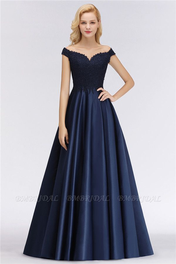 Elegant Off-the-Shoulder Ruffle Navy Lace Bridesmaid Dresses with Beads