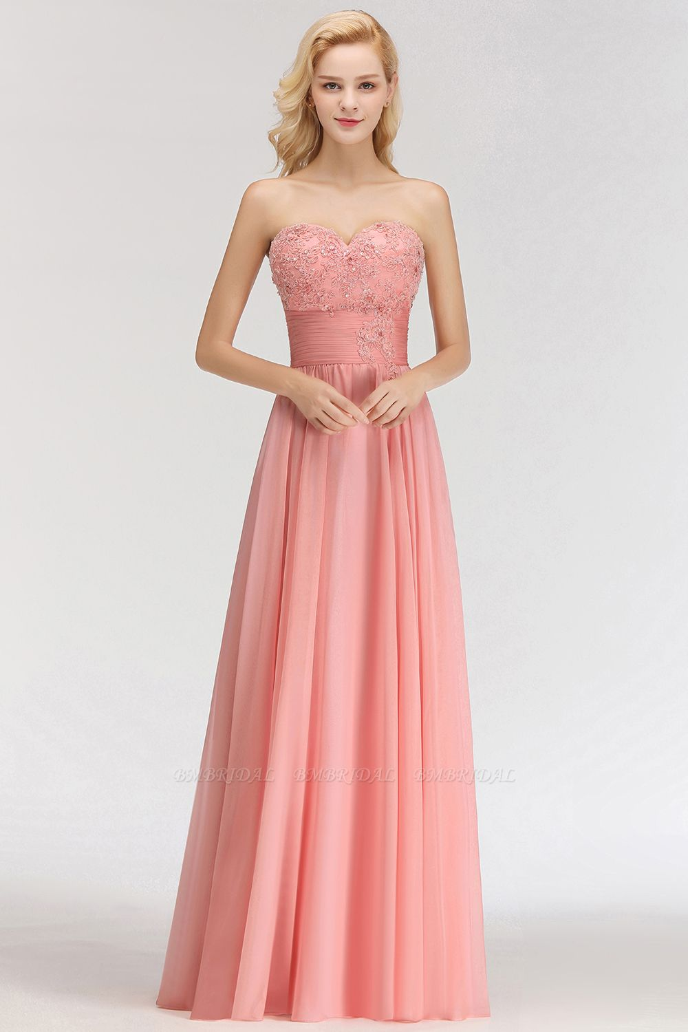 Elegant Sweetheart Ruffle Pink Bridesmaid Dresses with Appliques
