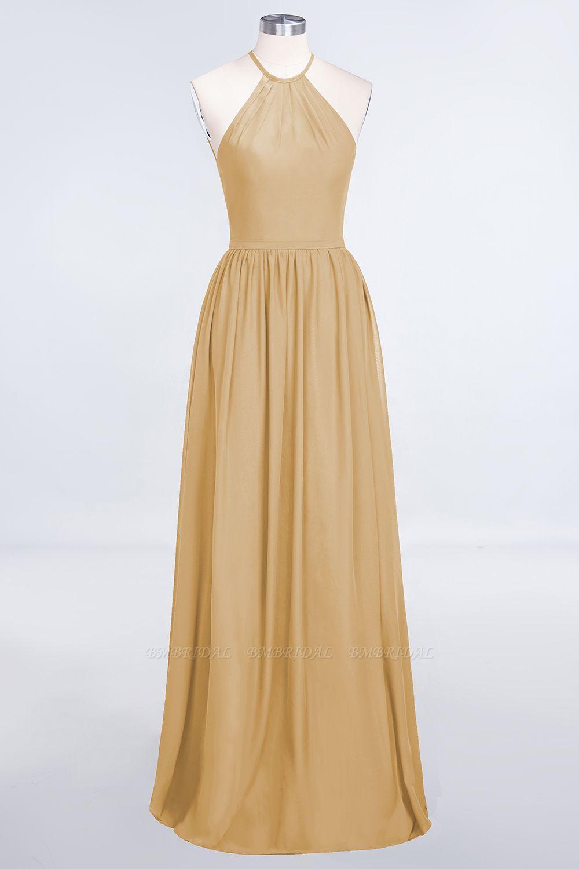 BMbridal Affordable Halter Sleeveless Long Burgundy Bridesmaid Dress with Ruffle