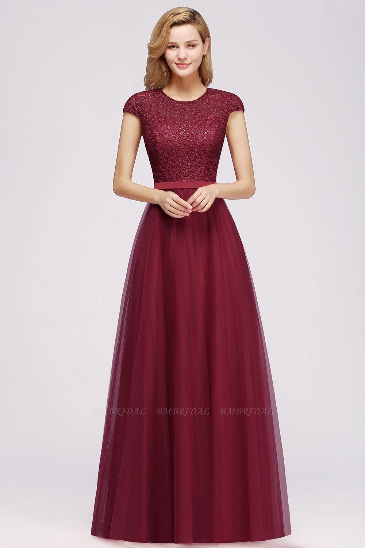 BMbridal Elegant Lace Cap-Sleeves Long Burgundy Birdesmaid Dresses Online