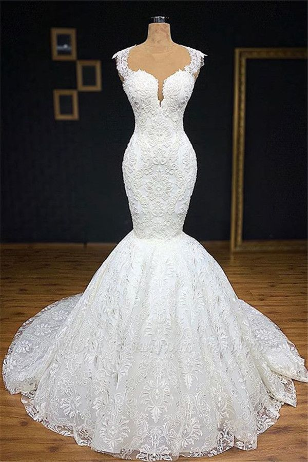 BMbridal Unique White Straps Mermaid Wedding Dresses With Appliques Tulle Ruffles Lace Bridal Gowns Online
