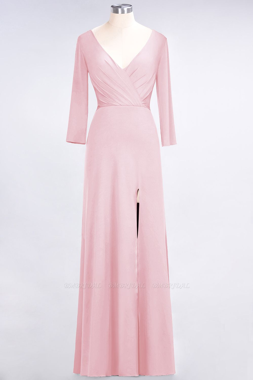 Popular Spandex Long-Sleeves Burgundy Bridesmaid Dresses with Side-Slit