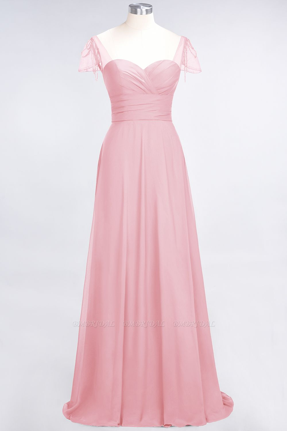 Chic Chiffon Sweetheart Cap-Sleeves Ruffle Bridesmaid Dresses with Beadings