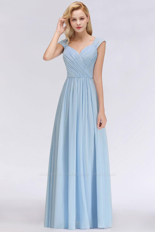 Modest Chiffon Sweetheart Sleeveless Cheap Bridesmaid Dresses with Ruffles
