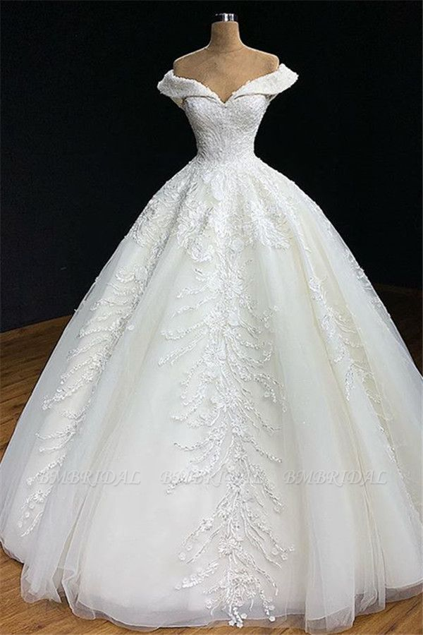 Modest Off-the-shoulder White A-line Wedding Dresses Tulle Ruffles Bridal Gowns With Appliques Online