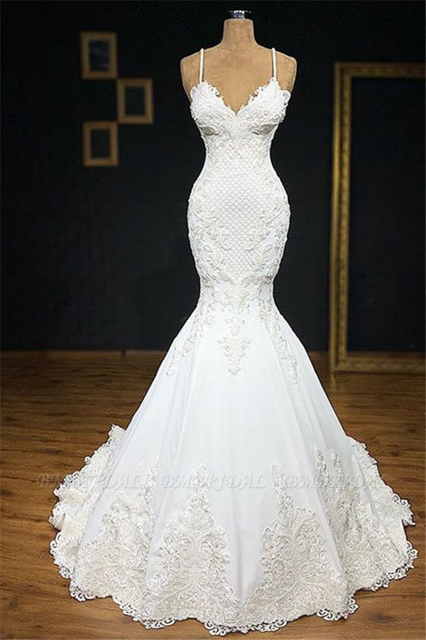 BMbridal Unique White Spaghetti Straps Mermaid Wedding Dresses With Appliques Tulle Ruffles Lace Bridal Gowns Online