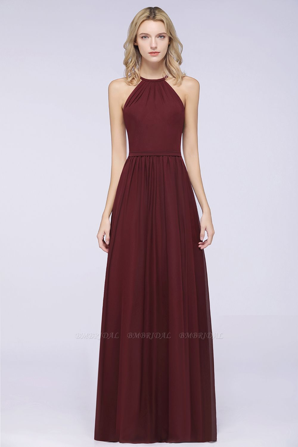 Affordable Halter Sleeveless Long Burgundy Bridesmaid Dress with Ruffle