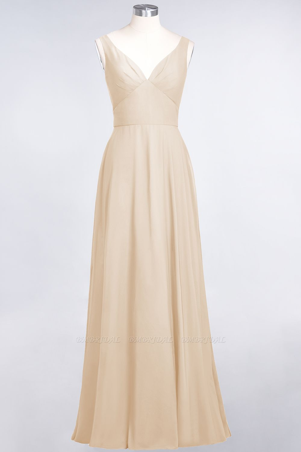 Chic Chiffon V-Neck Straps Ruffle Affordable Bridesmaid Dresses with Open Back