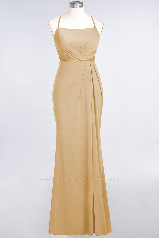 BMbridal Mermaid Spandex Spaghetti Straps Ruffle Lace Bridesmaid Dress