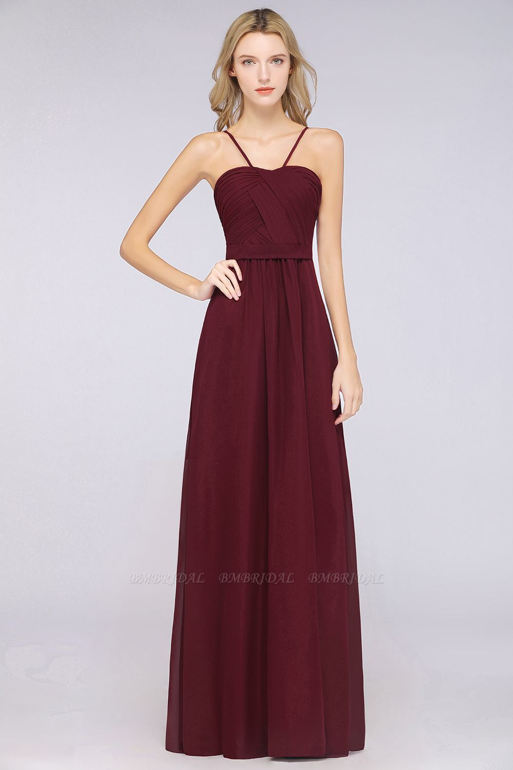BMbridal Chic Burgundy Sweetheart Long Bridesmaid Dress With Spaghetti-Straps