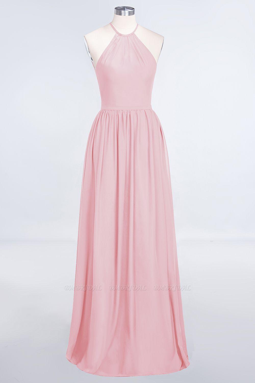 Affordable Halter Sleeveless Long Burgundy Bridesmaid Dress with Ruffle