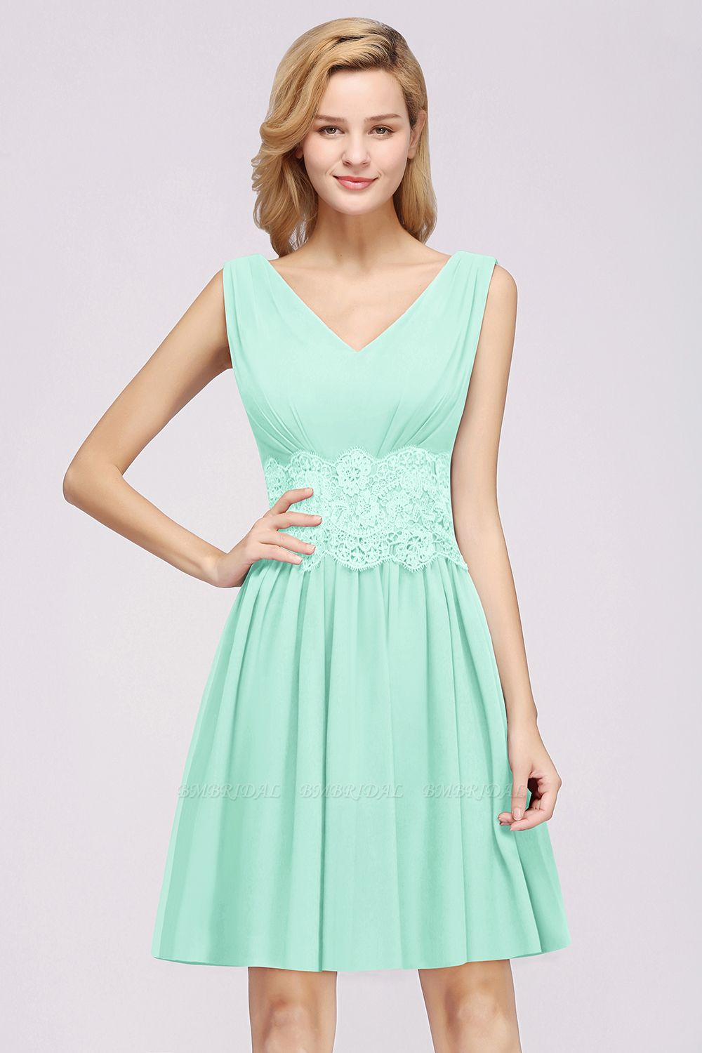 Pretty V-Neck Short Sleeveless Lace Bridesmaid Dresses Online