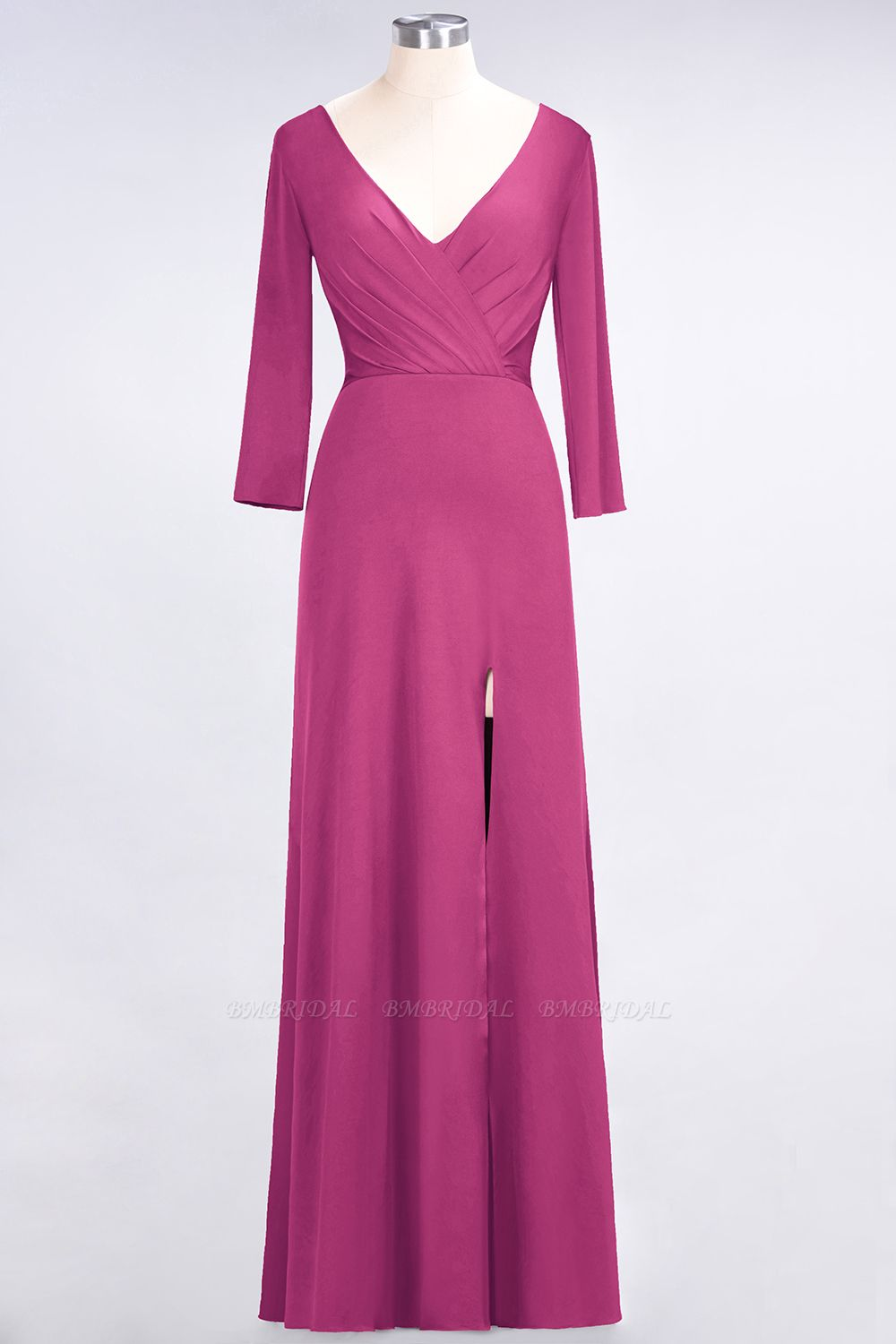 Popular Spandex Long-Sleeves Burgundy Bridesmaid Dresses with Side-Slit