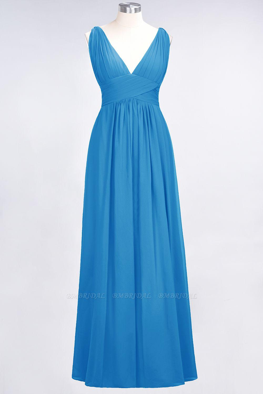 Elegant V-Neck Burgundy Chiffon Affordable Bridesmaid Dress with Ruffle