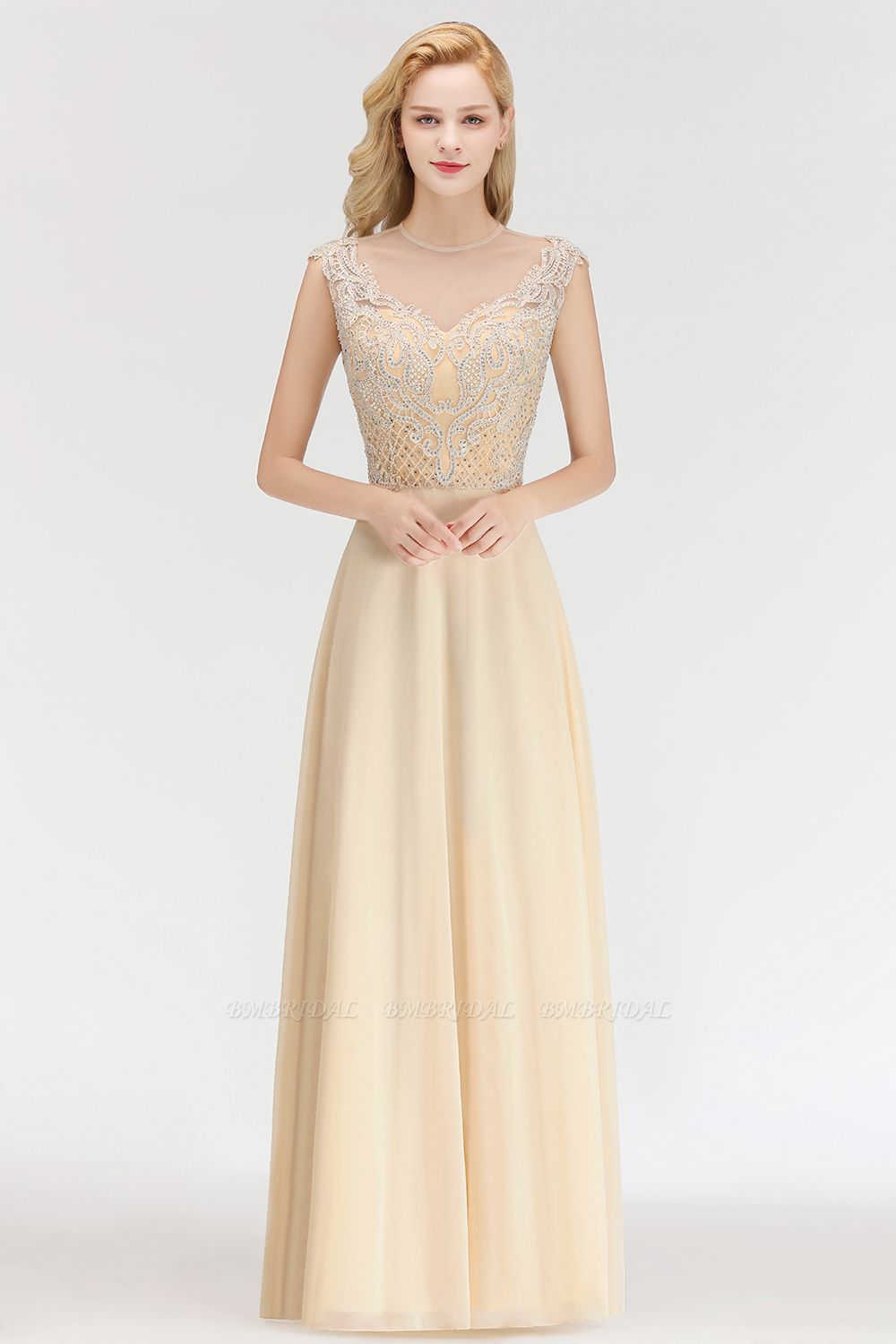 Modest Jewel Champagne Lace Bridesmaid Dresses with Beadings
