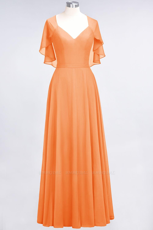 Chic Satin V-Neck Long Burgundy Chiffon Bridesmaid Dress with Flutter Sleeve