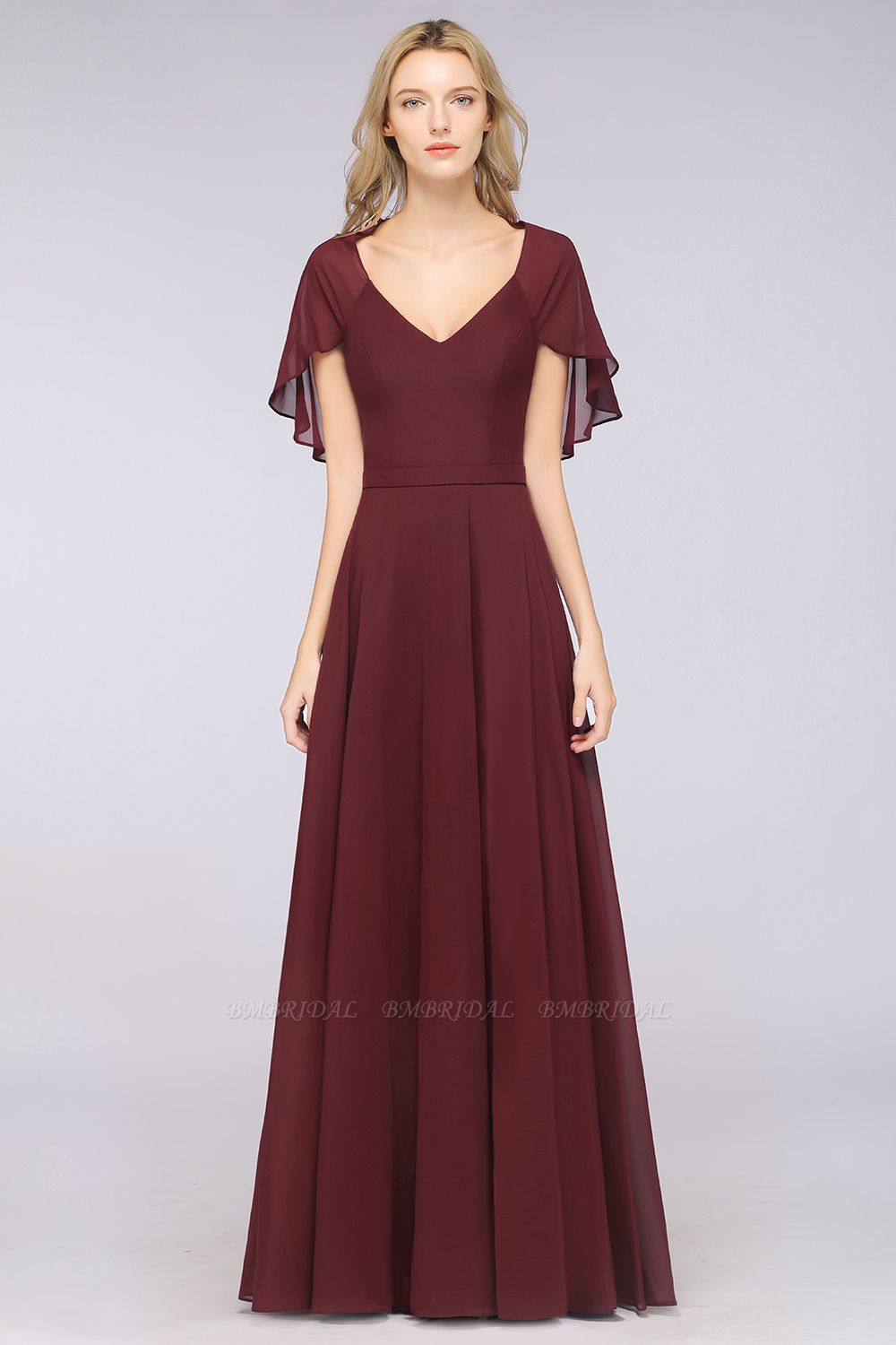 Chic Satin V-Neck Long Burgundy Chiffon Bridesmaid Dress with Flutter Sleeve