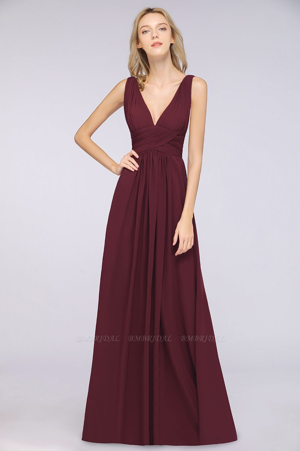 Elegant V-Neck Burgundy Chiffon Cheap Bridesmaid Dress with Ruffle