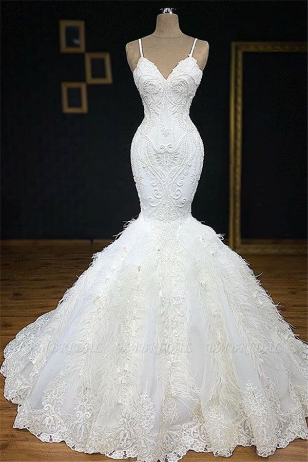 BMbridal Sexy Spaghetti Straps Sleeveless White Wedding Dresses With Appliques Mermaid Sleeveless Bridal Gowns On Sale