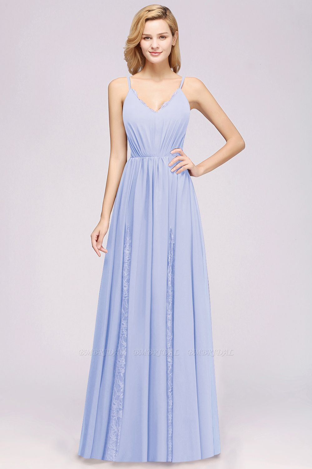 Elegant Spaghetti Straps Long Bridesmaid Dress Lace V-Neck Maid of Honor Dress