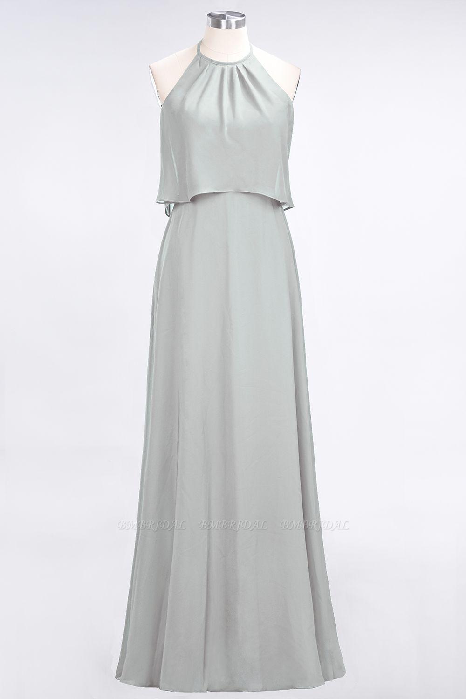 Gorgeous Chiffon Flounced Crinkle Sheath Long Burgundy Bridesmaid Dresses