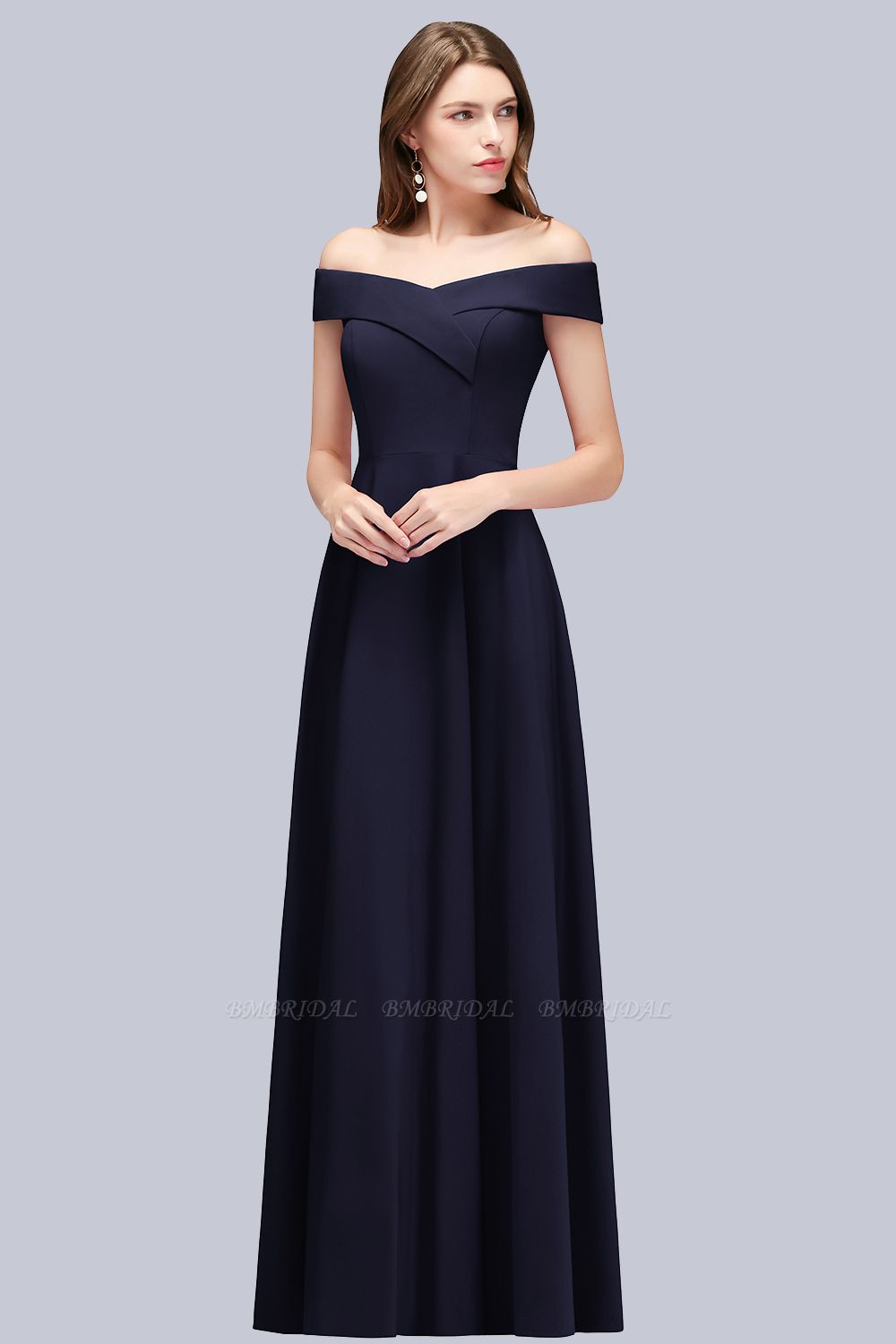Popular Off-the-Shoulder Ruffle Navy Bridesmaid Dresses Online