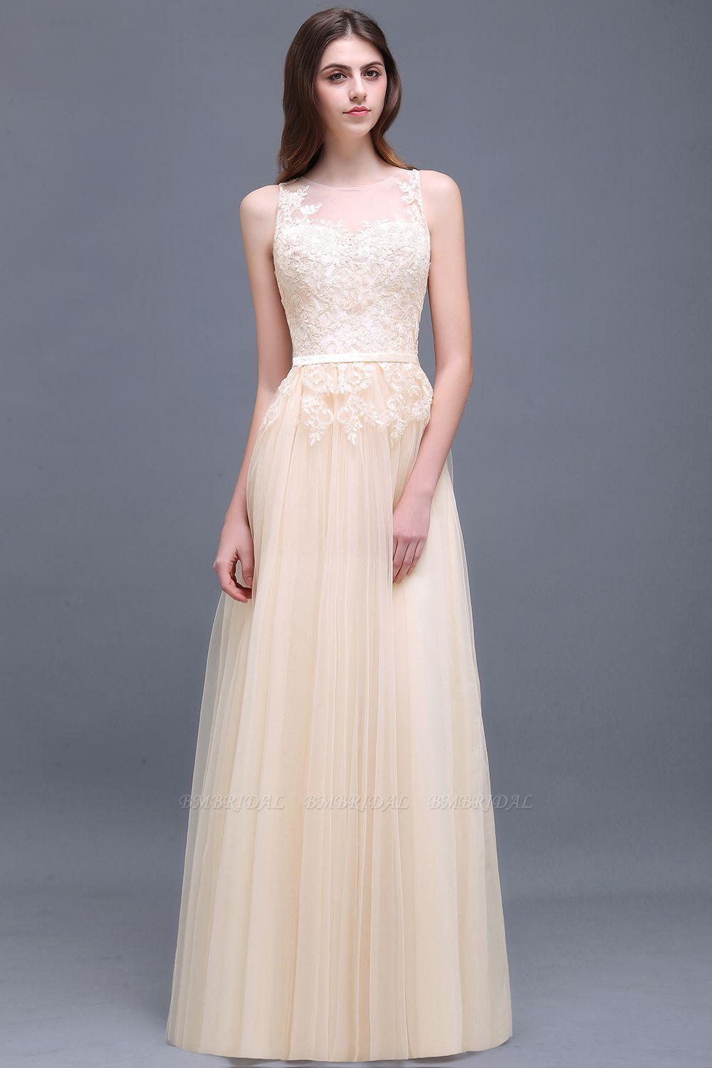 BMbridal Elegant Tulle Lace Champagne Long Bridesmaid Dress With Appliques