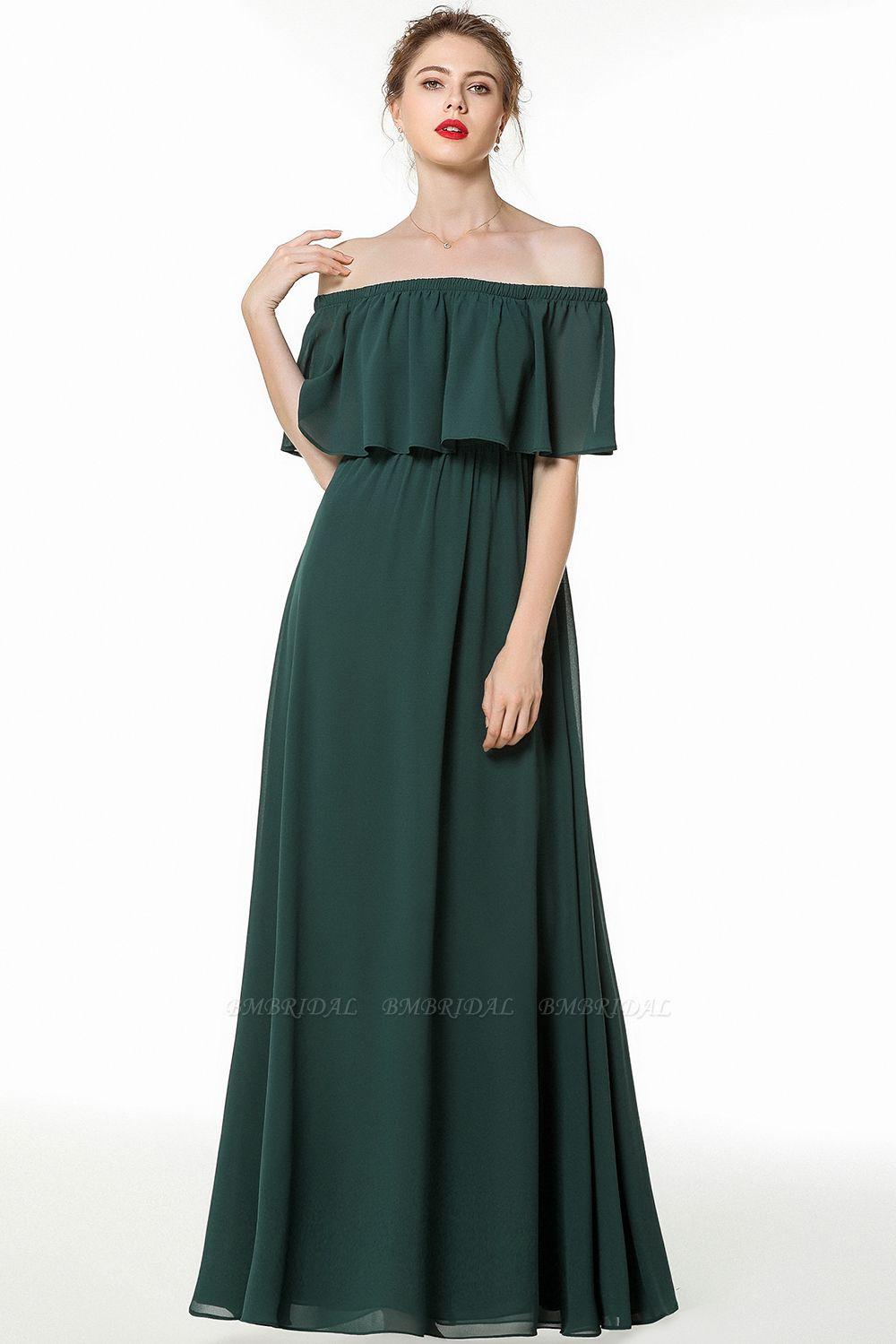 Gorgeous Chiffon Flounced Crinkle Cold-shoulder Long Bridesmaid Dresses Affordable